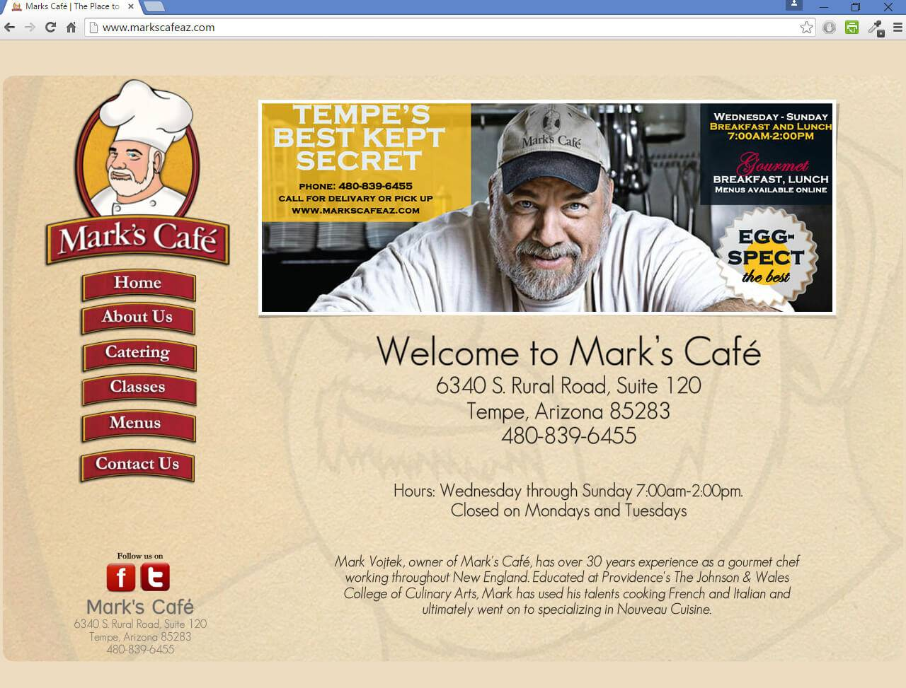 Marks Cafe | Developed by JTag Internet Design