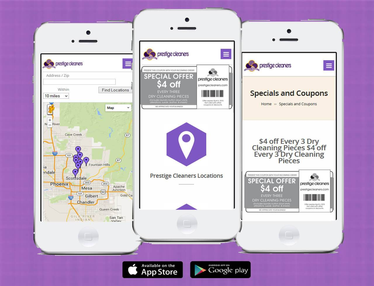 Prestige Cleaners iOS App and Android App | Developed by JTag Internet Design