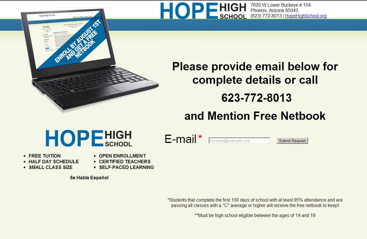 Hope High School Landing Page | Developed by JTag Internet Design