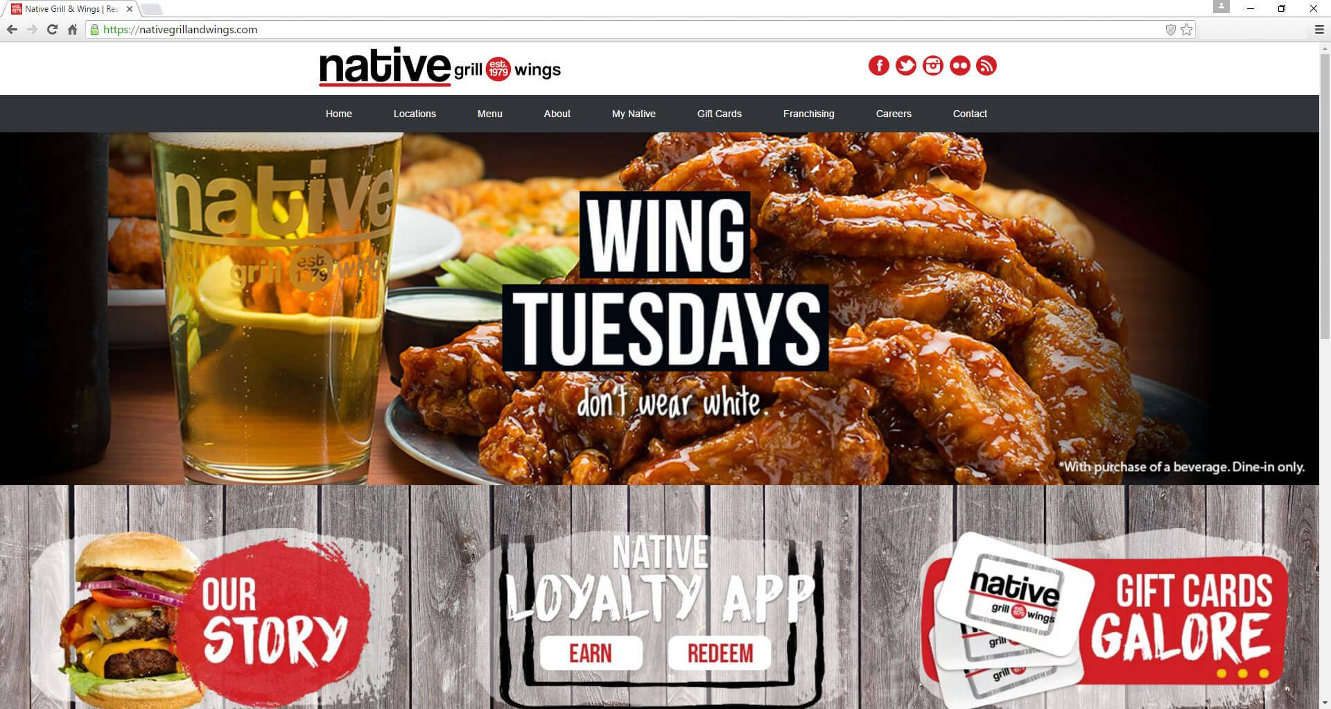 Native Grill and Wings | Developed by JTag Internet Design
